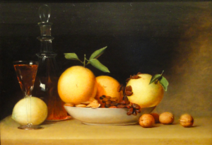 Still Life with Liqueur and Fruit, by Raphelle Peale, 1814
